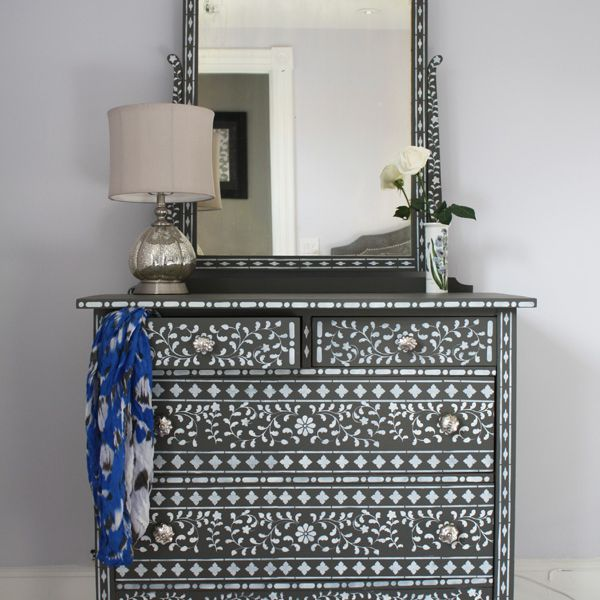 How to stencil a bedroom dresser