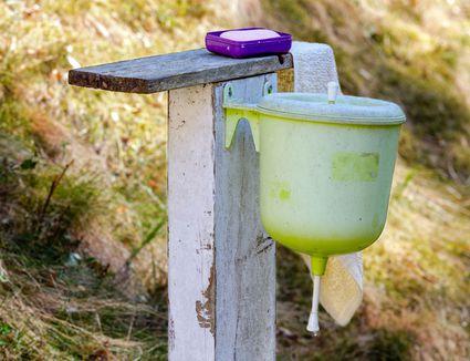 Soap at camping washstand
