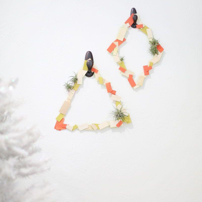 geometric wreath with air plants