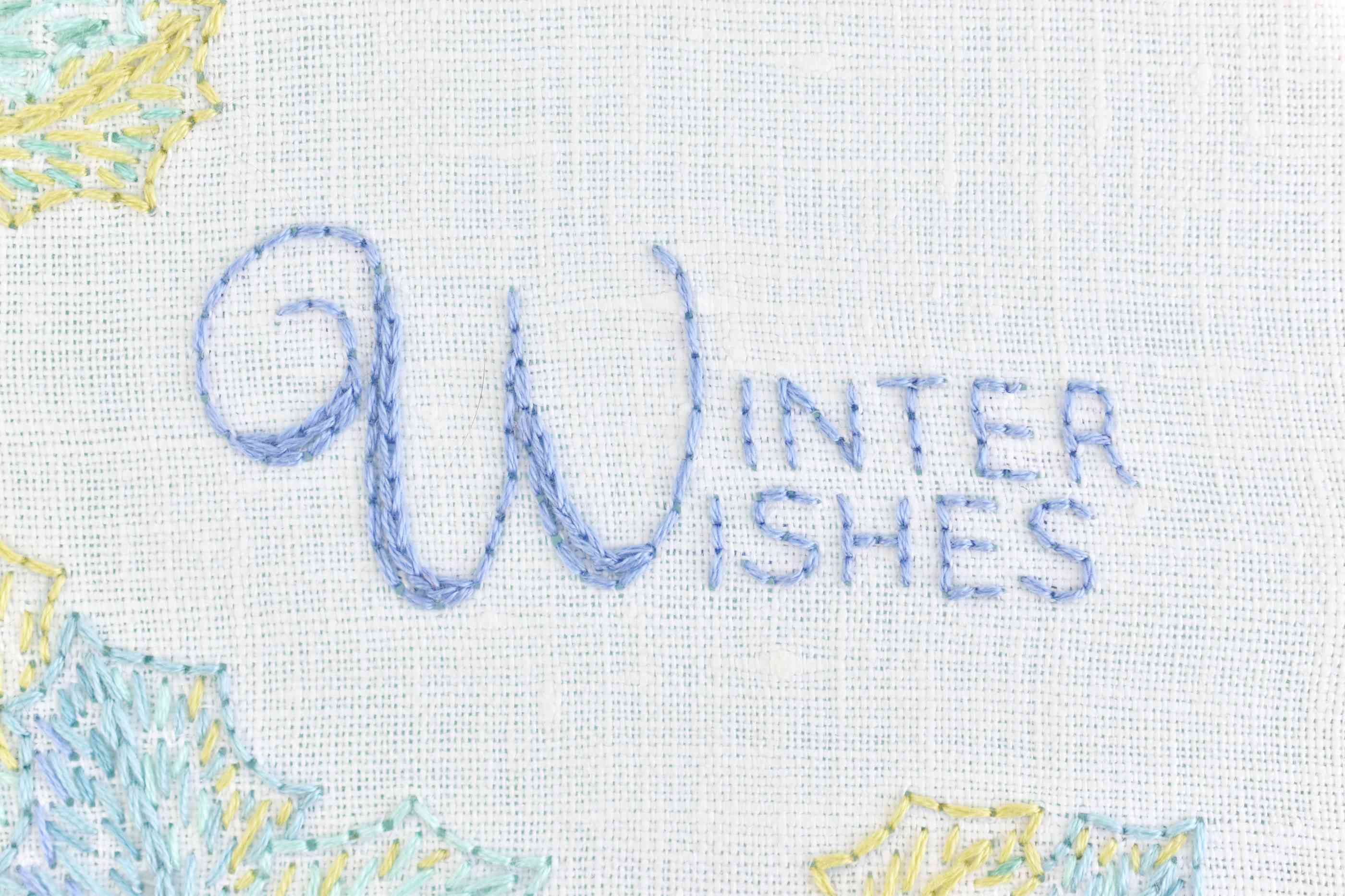 Winter Wishes Text Embroidery Detail