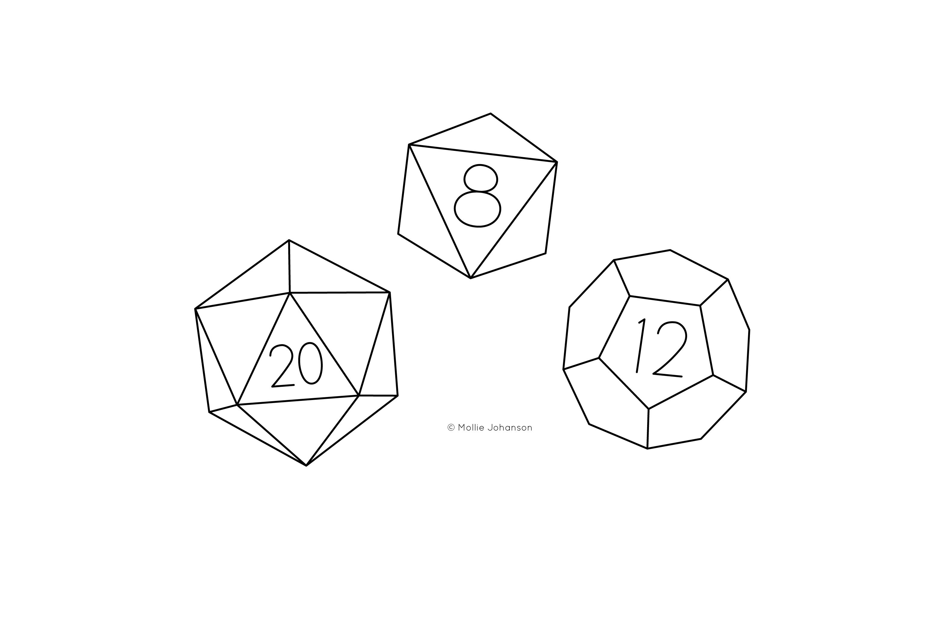 Multi-Sided Dice Embroidery Patterns