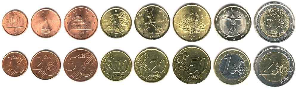 These coins are currently circulating in Italy as money.