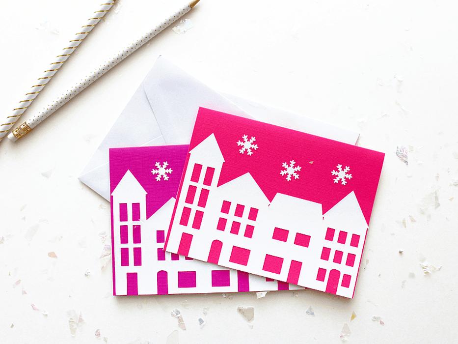 silhouette village Christmas card