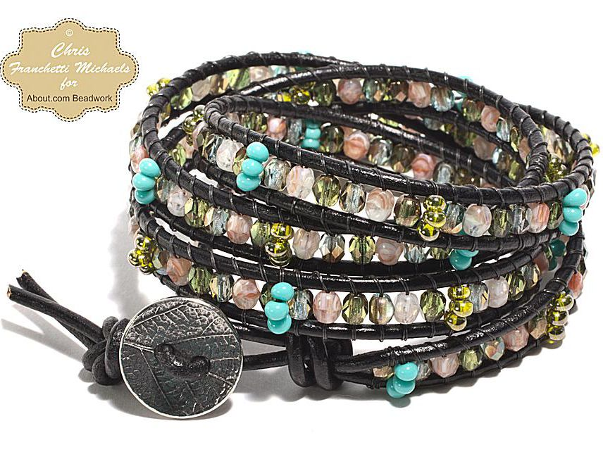 32d04fded Leather Wrap Bracelet Pattern With Czech Glass Beads
