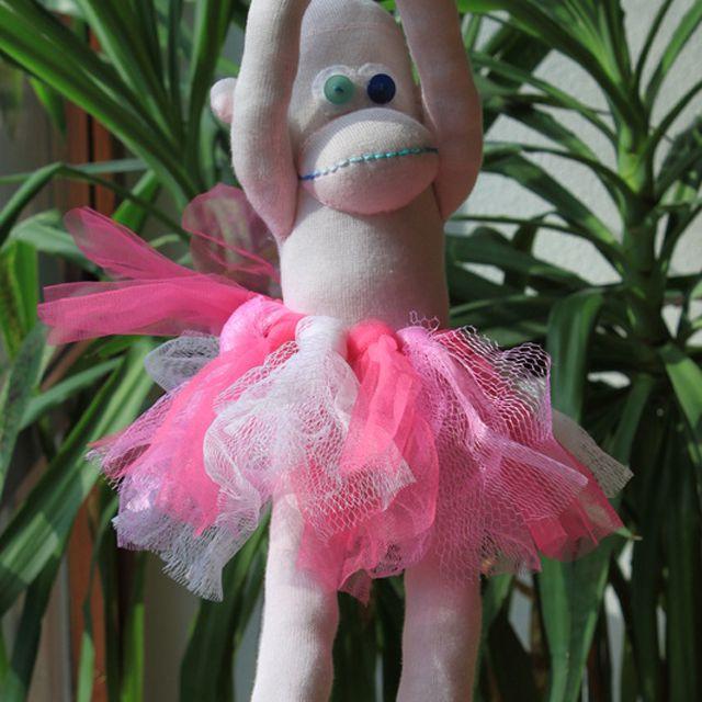 sock monkey wearing a tutu