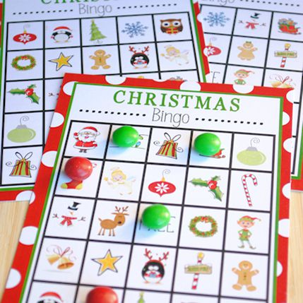 Christmas bingo cards with M&M's for markers.