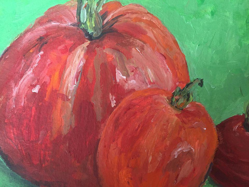 "Big Tomato (9/1/15), acrylic, 6""x9"""