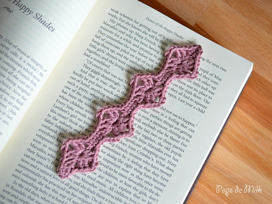 Crocheted bookmark in a book