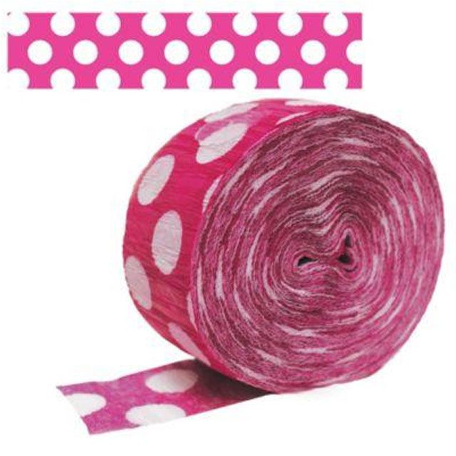 a roll of pink crepe paper