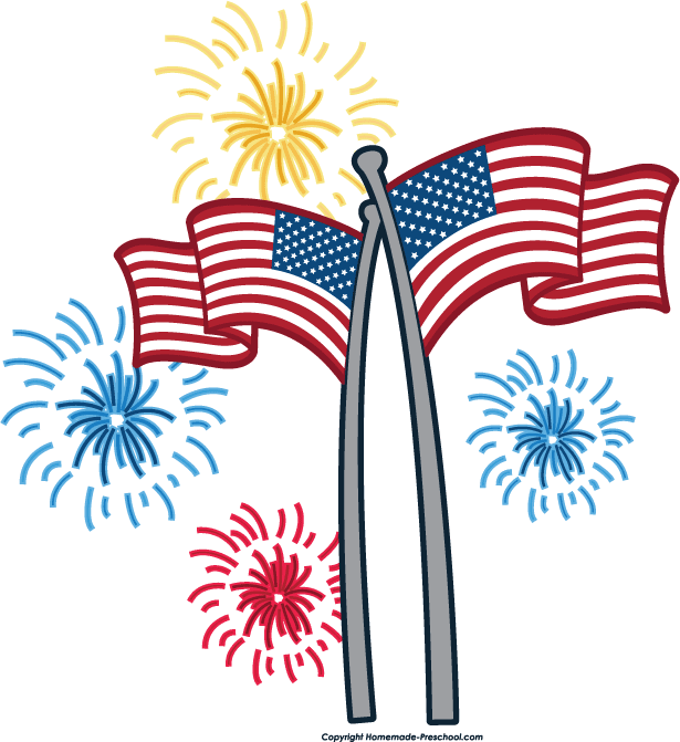 Two American flags with fireworks around them