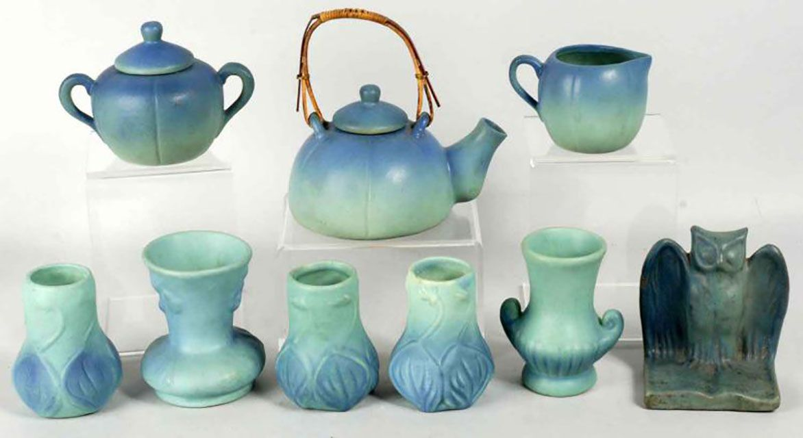 Lot of vintage blue Van Briggle pottery.