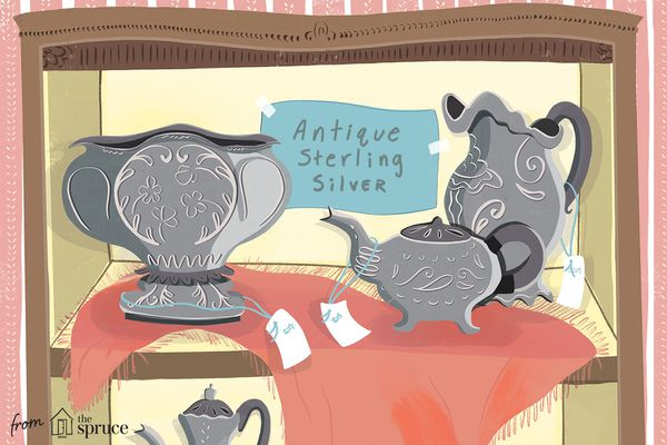 Illustration of antique sterling silver items