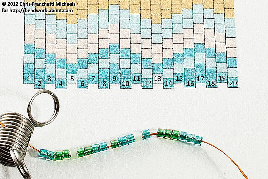 Beads in the first two rows of the pattern