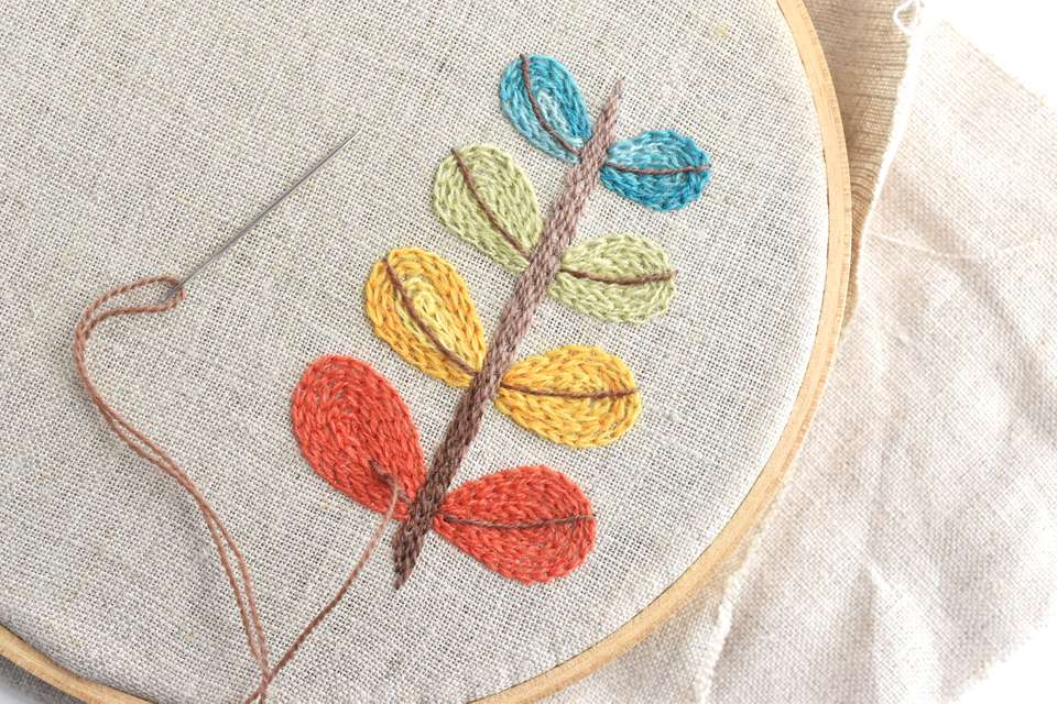 Modern Leaf Design in Crewel Embroidery