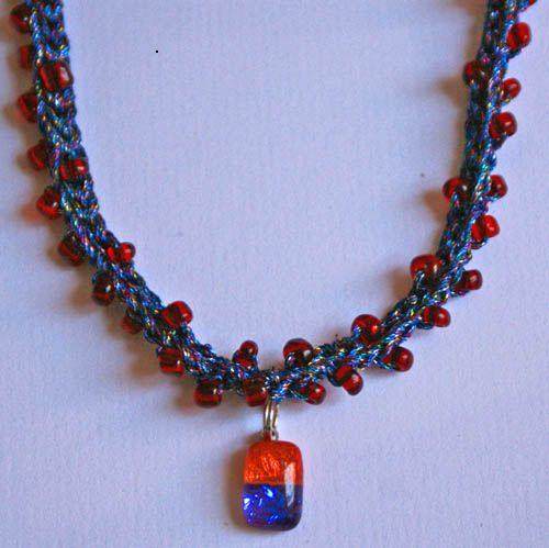 Blue, Red, and Orange Beaded Crochet Necklace