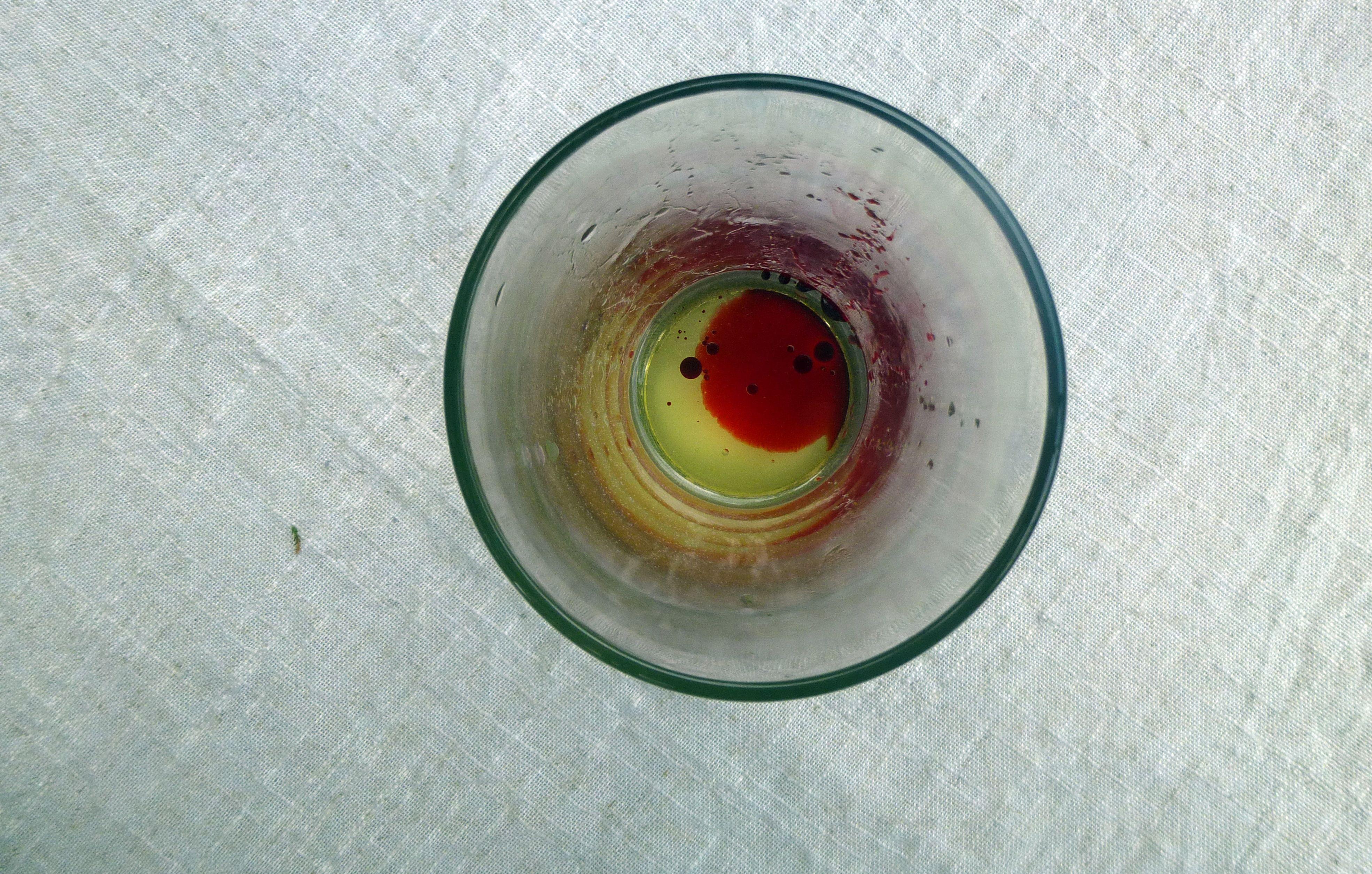 Dye in a pint glass