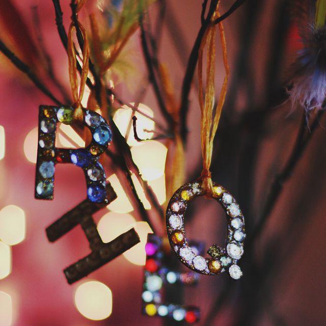DIY Glittering Initial Ornament