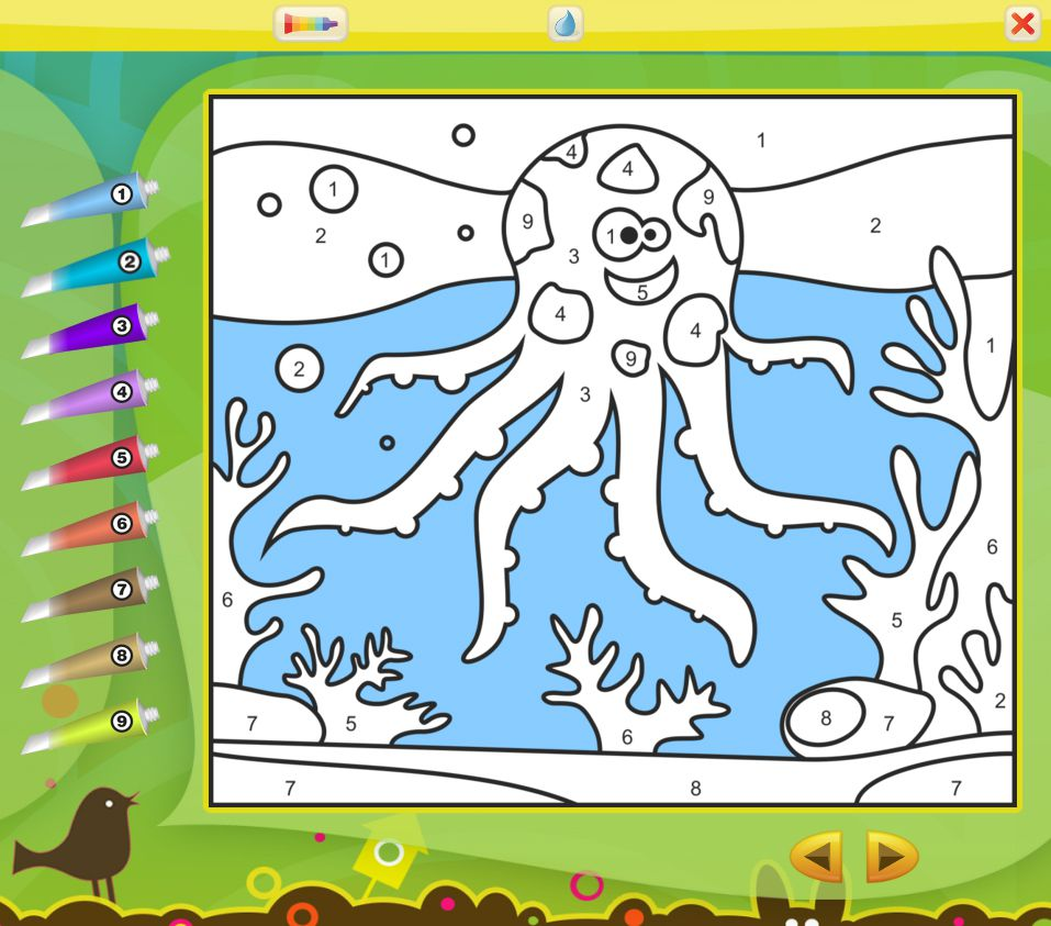 An octopus being colored online