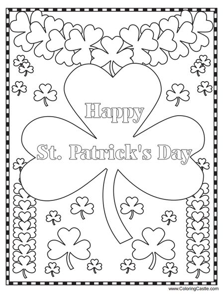 Coloring Castles Free St Patricks Day Pages Happy With Lots Of Four Leaf Clovers