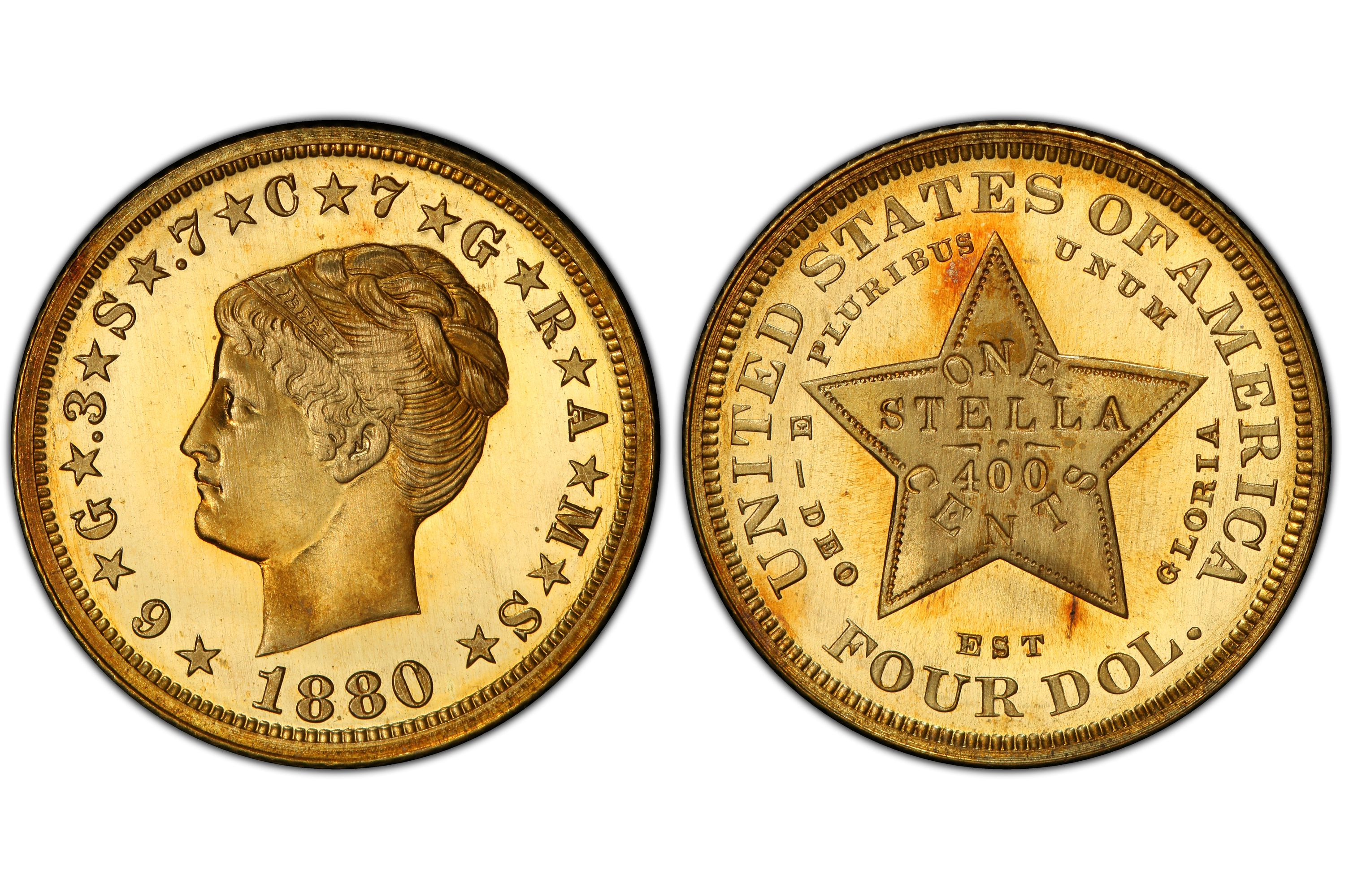 1880 Proof $4 Stella Coiled Hair