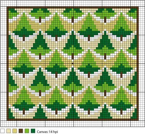 Ponderosa Pines Full-Color Needlepoint Chart