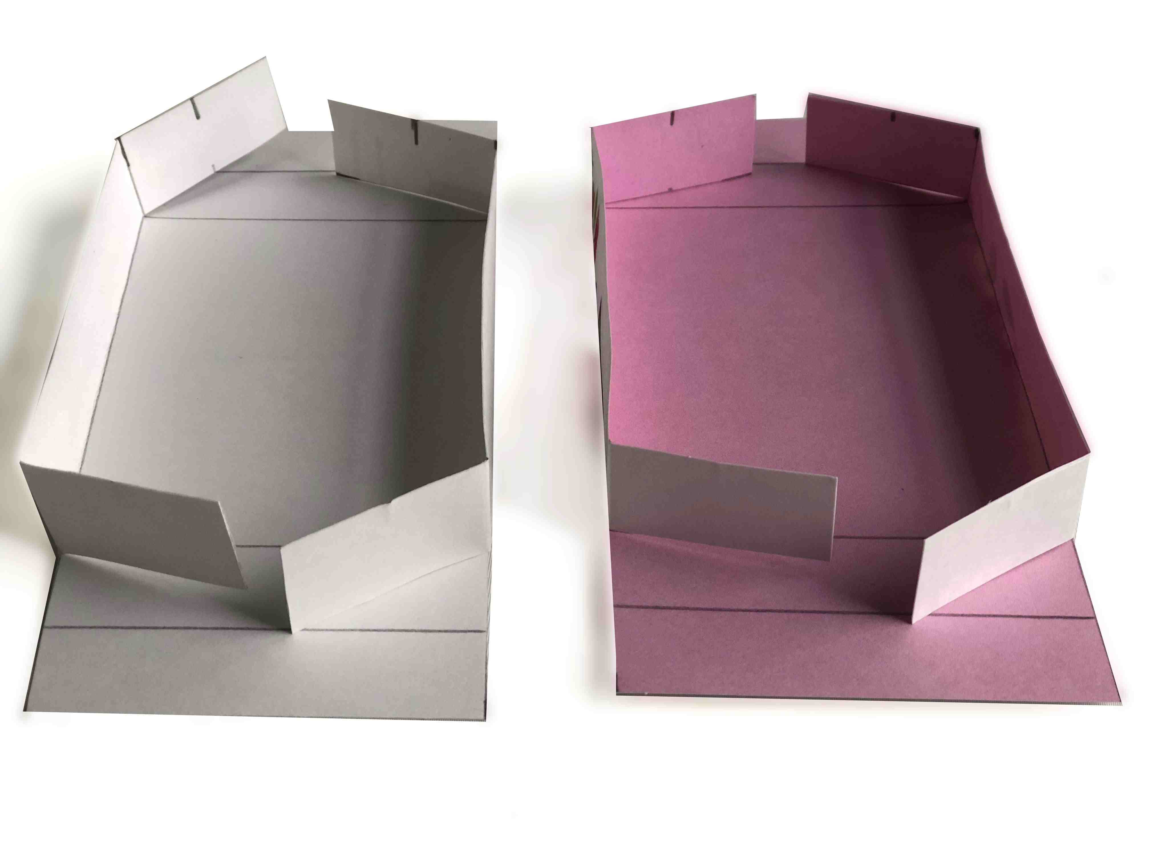 folding the sides of the greeting card box