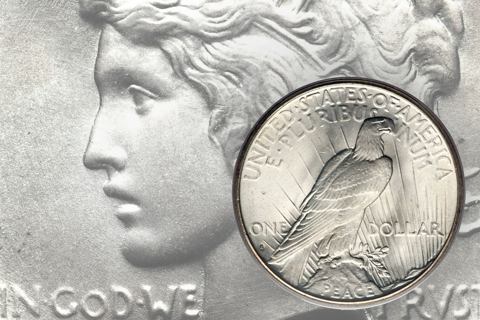 Peace silver dollar detail and the reverse
