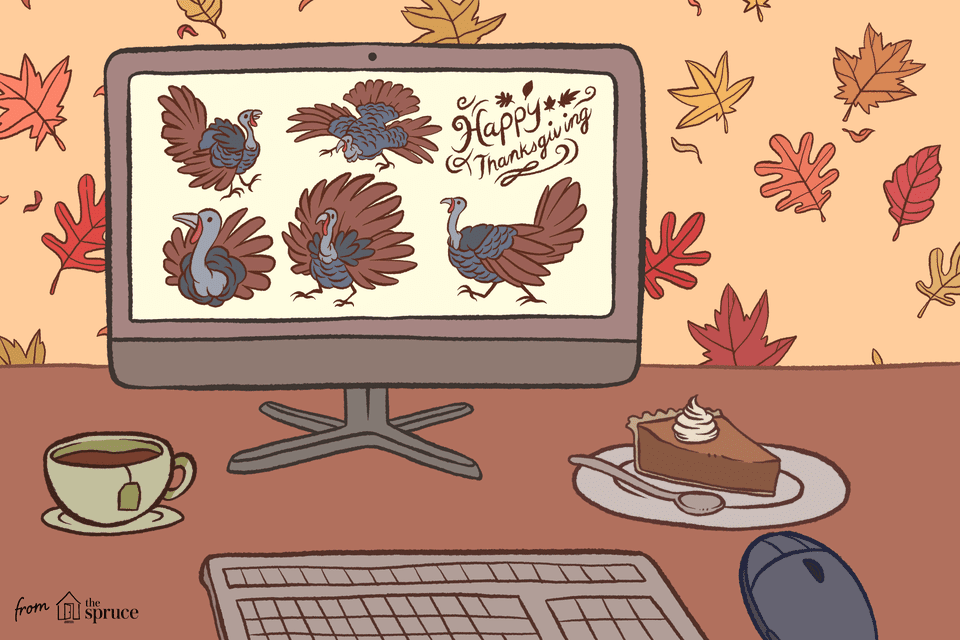 An illustration of a desktop screen with turkey clipart one it. A piece of pumpkin pie and a cup of tea are under the screen.