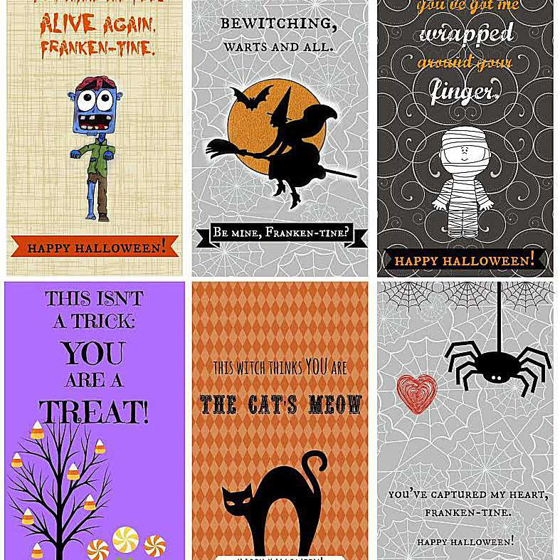 A screenshot of 6 Halloween cards.