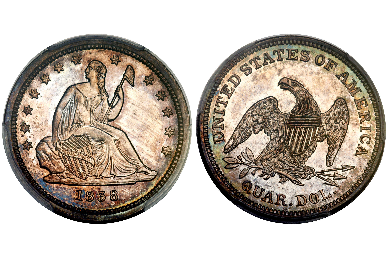 1838 Proof Liberty Seated Quarter - No Drapery