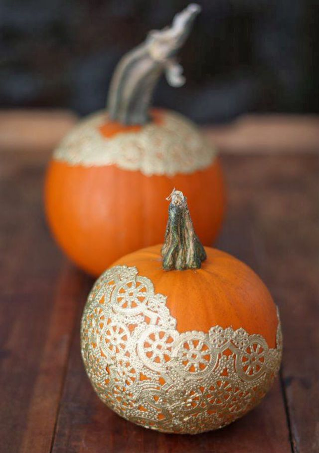 diy doily no carve pumpkin