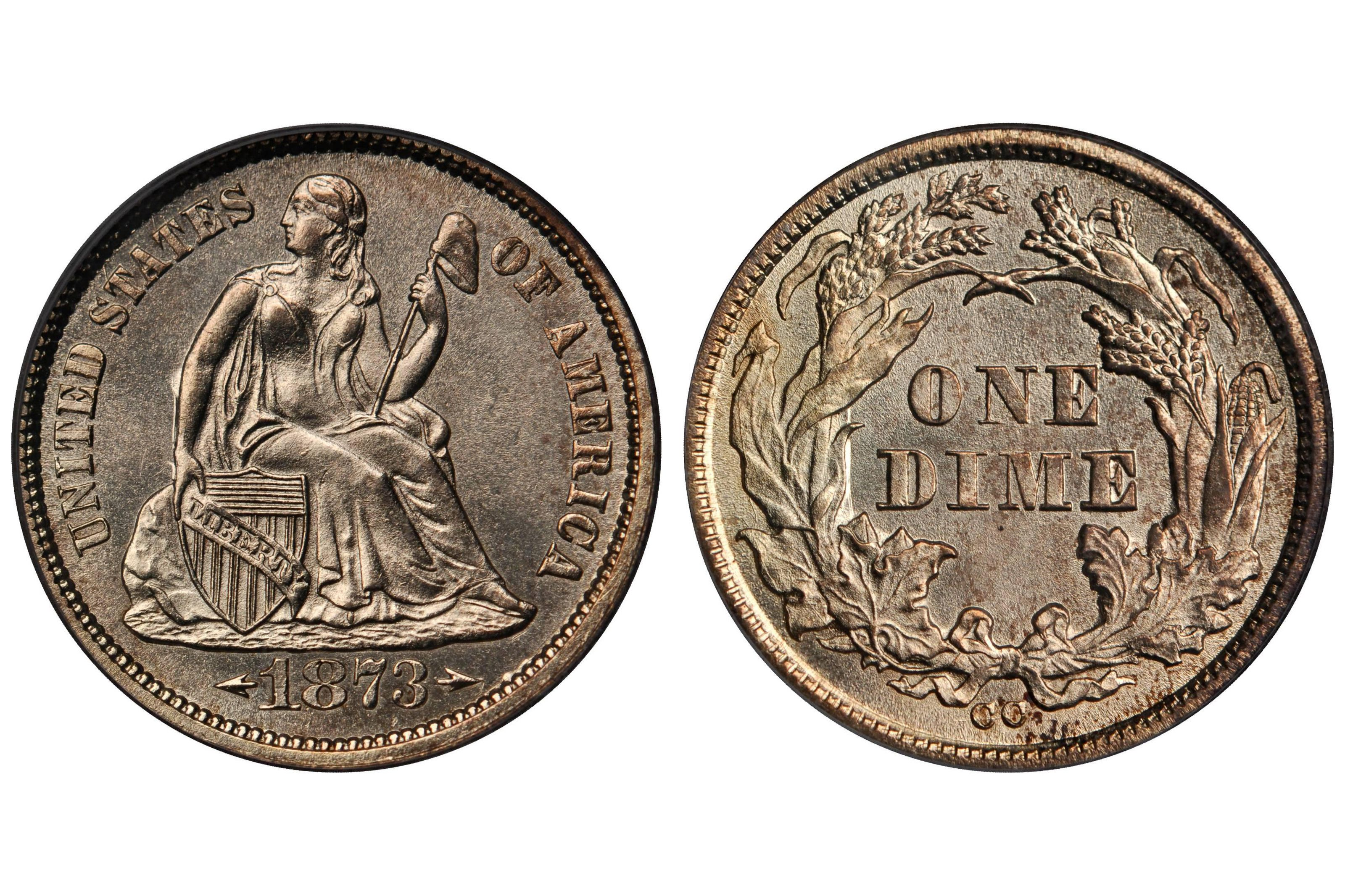 1873-CC Liberty Seated Dime - Arrows at Date