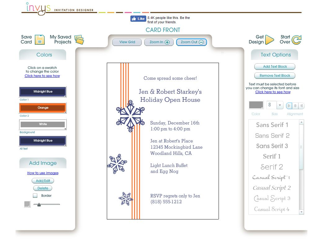 a christmas party invite with orange stripes and blue snowflakes