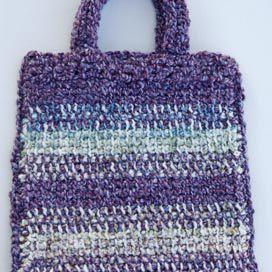 Striped Crochet Bag Made With Afghan Stitch AKA Tunisian Simple Stitch, and Lion Brand Homespun Yarn