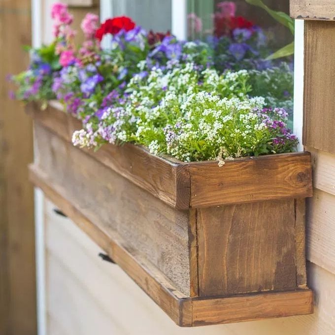 A wooden window planter with colorful flowers