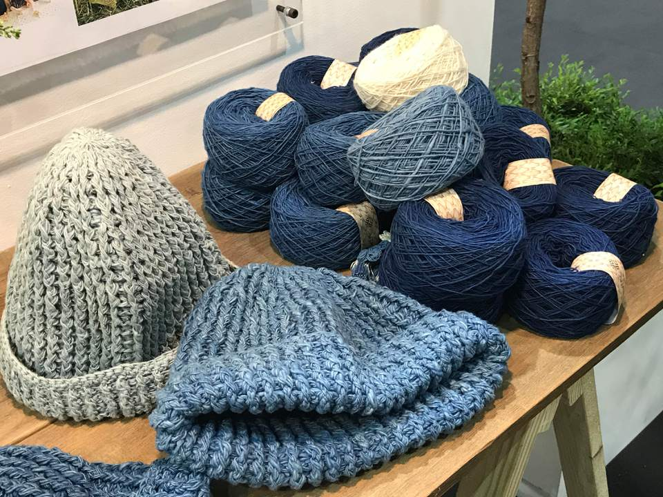 Crocheted hats with yarn