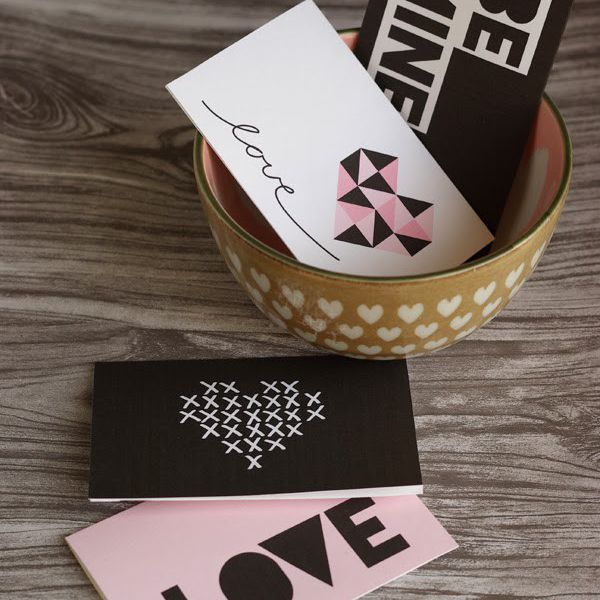 Pink, black, and white Valentine cards