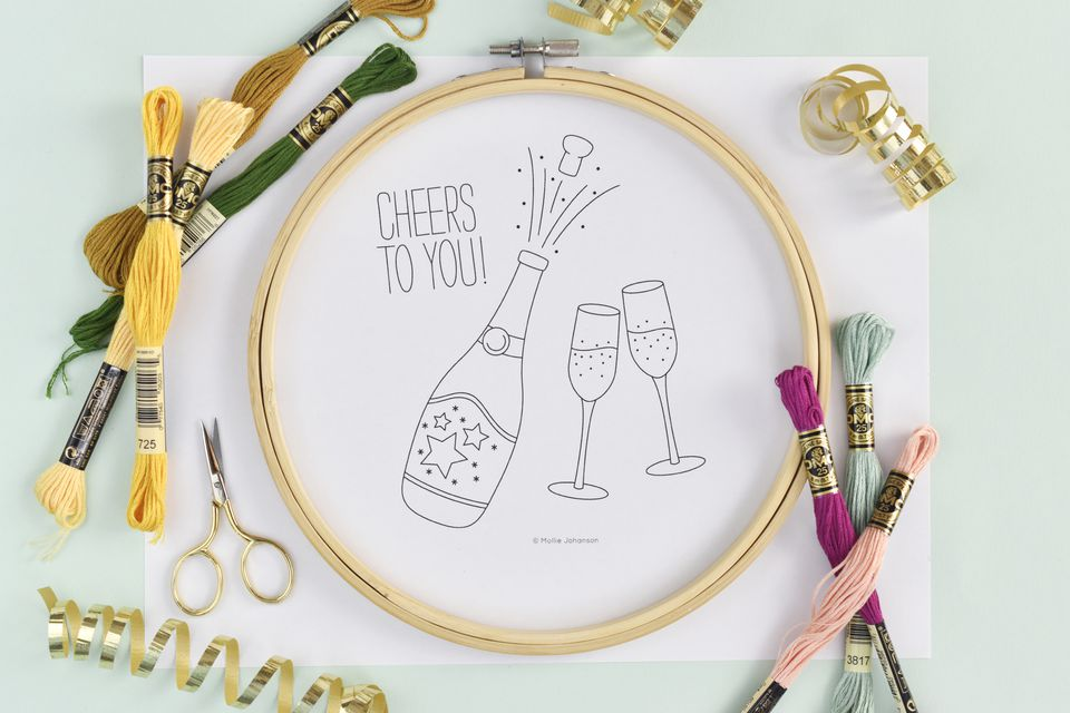 Cheers to You Celebration Embroidery Pattern