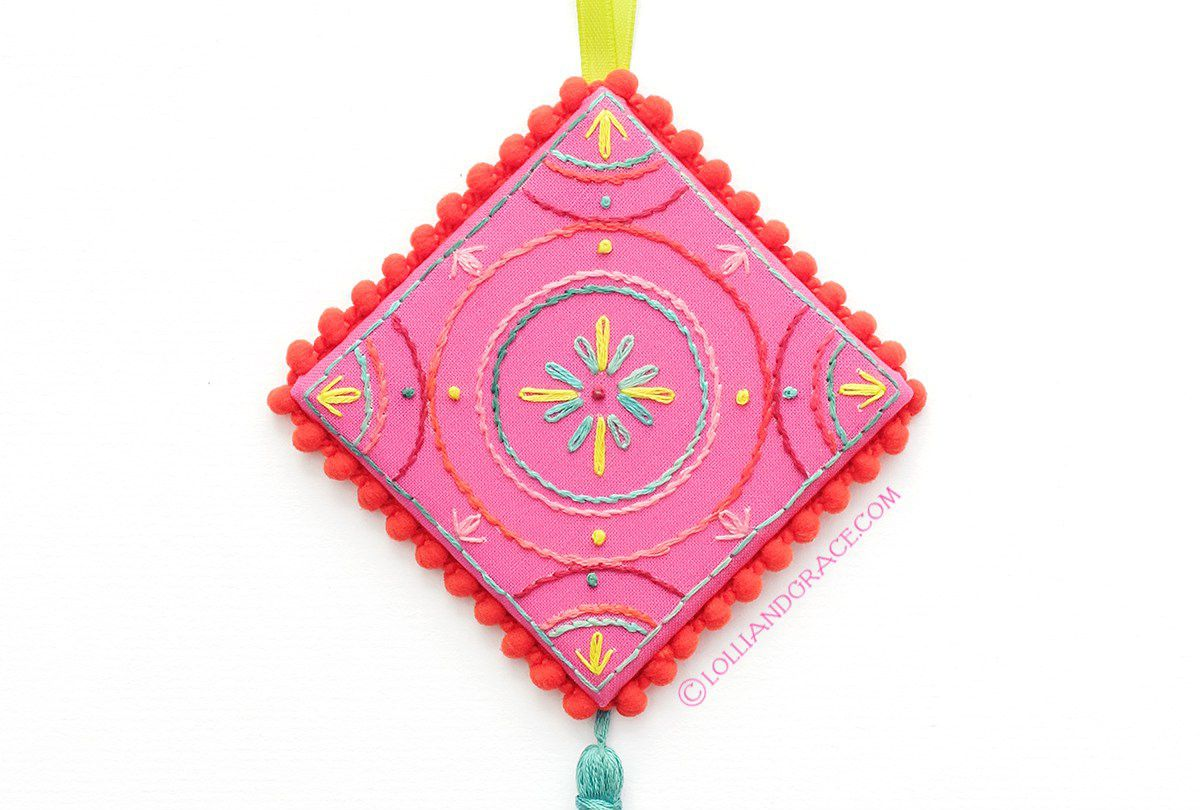 Contemporary Stitched Tile Ornament Project