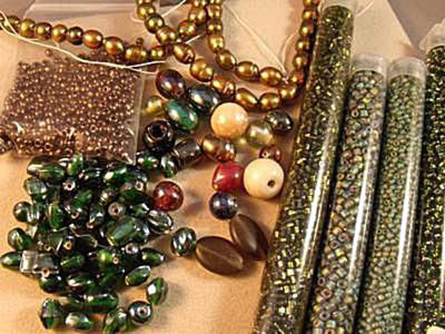An assortment of beads for freeform peyote
