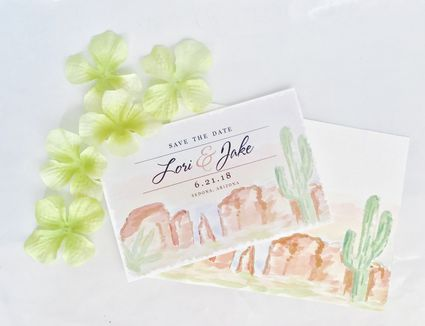 Water color painted cards with rock formations.