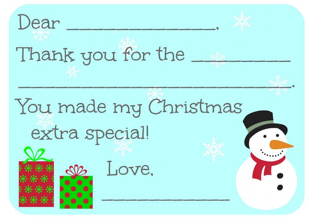 11 Free, Printable Christmas Thank You Cards