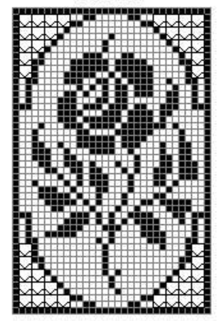 Filet Crochet Rose Chart