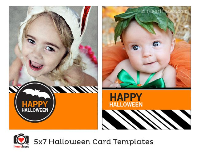 A Halloween photo card in orange, black, and white.