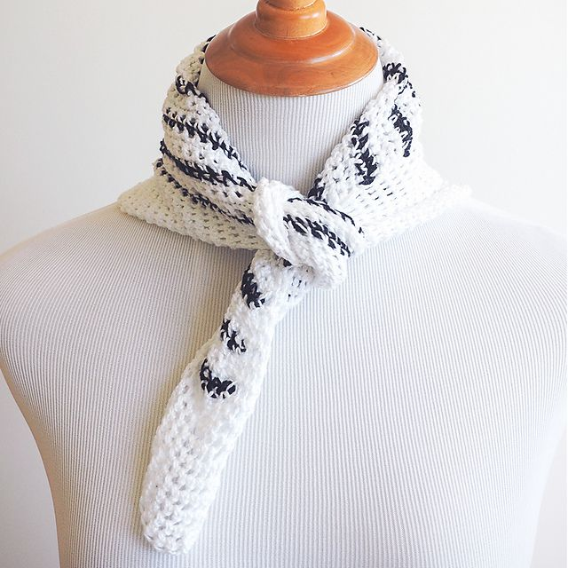 Striped Cotton Crochet Neck Scarf Free Pattern