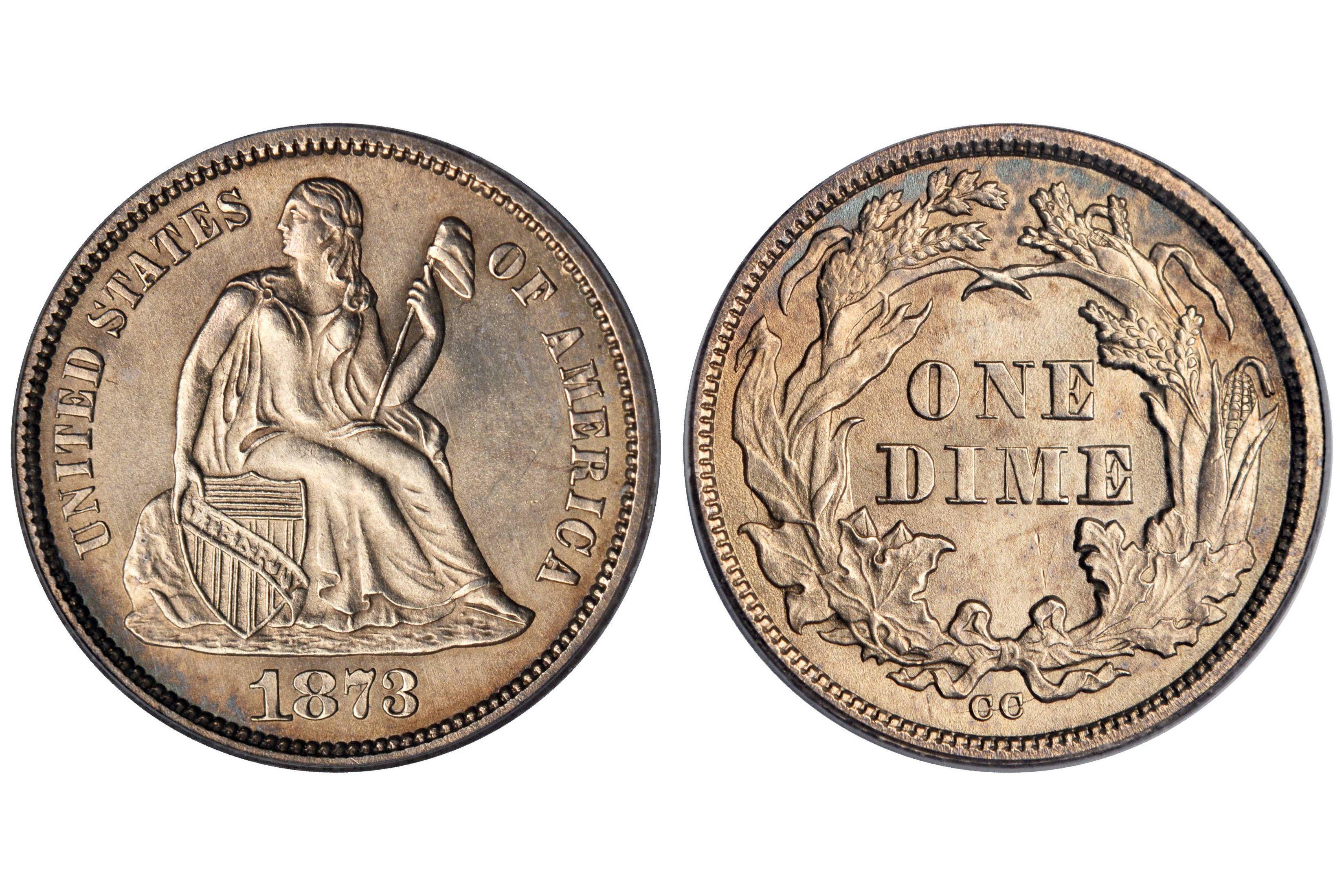 1873 CC Liberty Seated Dime