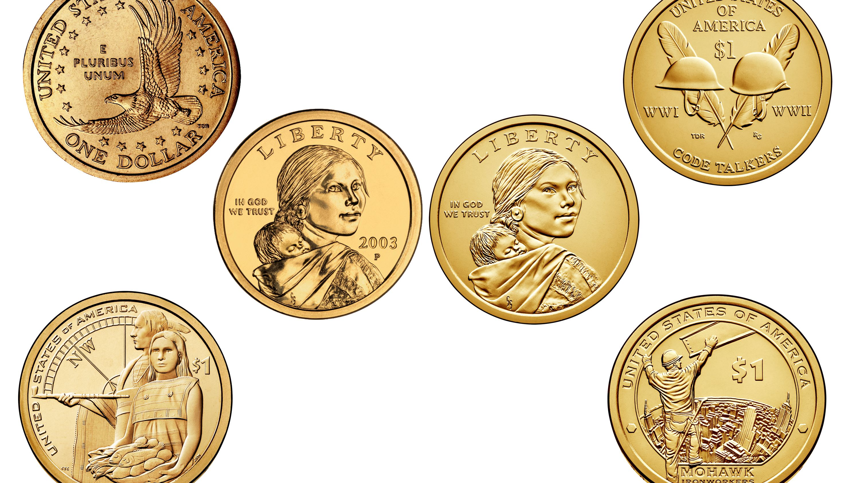 Native American Golden Small Dollars  One Proof Coin 2001-S Sacagawea 1