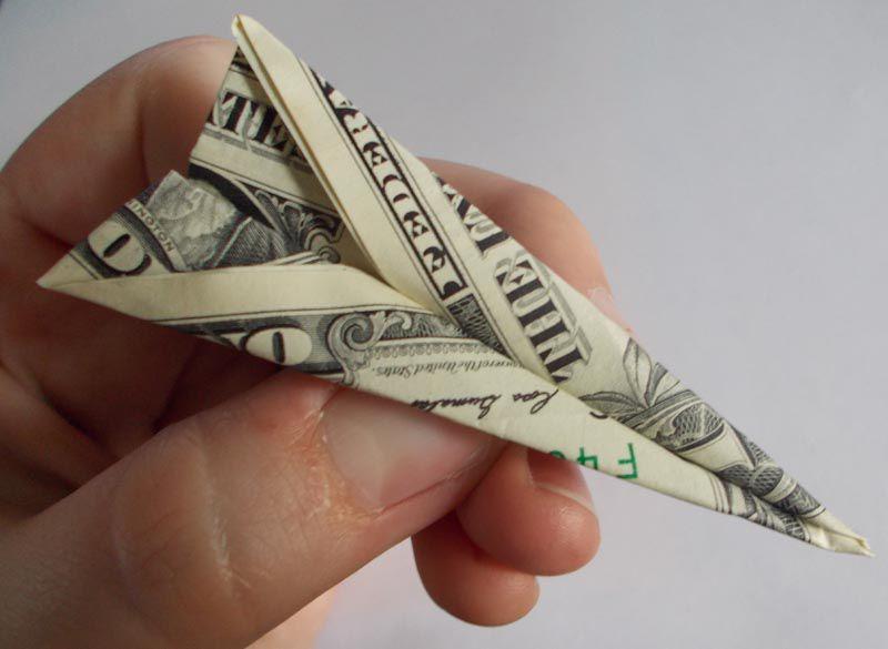 money origami airplane