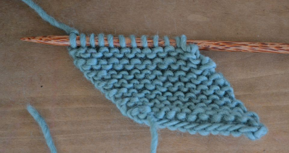 knit garter stitch on the bias for an interesting slant to your knitting
