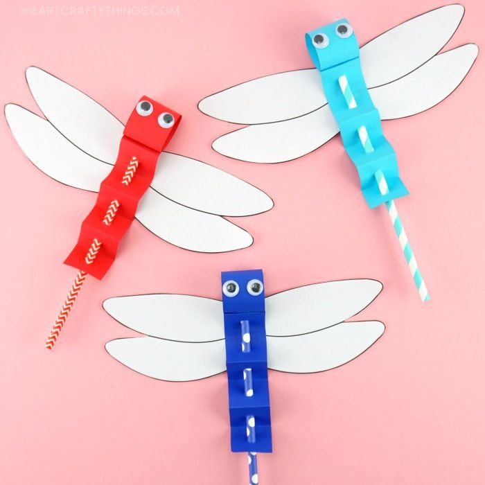 Paper Straw Dragonflies